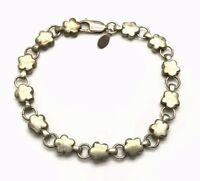 Vintage Oxidized Sterling Silver 925 Heavy Flower Link Chain Tennis Bracelet 7''