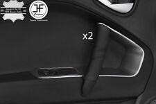 BLACK & BLACK STRIPE 2X DOOR HANDLE LEATHER COVERS FOR ALFA ROMEO MITO 08-17