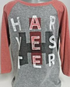 Harvester Block 3/4 Sleeve Ath. Heather / Vintage Red Boys Youth Shirt