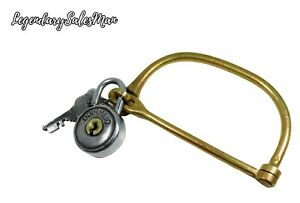 MILITARY LOCK BRASS WITH IRON PADLOCK OLIMPICO WITH TWO KEYS ANTIQUE