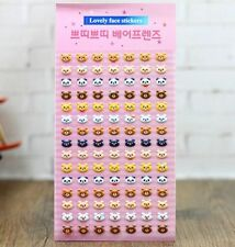 FD4504 □ Korea Design Bear Heads 3D Bubble Sticker for Diary Reward