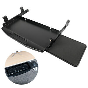 Keyboard Tray Under Desk Sliding Pull Out Ergonomic Keyboard Stand w/ Mouse Tray