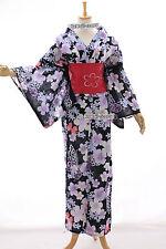 K-53 BLACK fiori originale Giappone Donna Kimono Yukata OBI cintura cotone