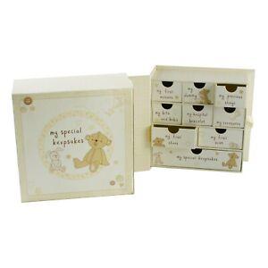 Baby Keepsake Memory Box Drawers Book Christening Newborn Baby Shower Gift