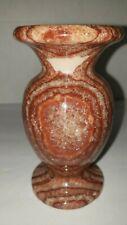 Polished Red Rose Marble Onyx Quartz Carved Vase Burgundy Stripes