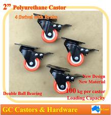 "2""Polyurethane Castor Wheels,4 Swivel Castors with Brake,100kg Loading/Caster"
