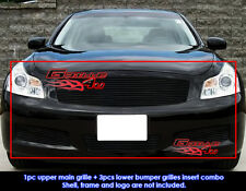Fits Infiniti G35 Sedan Black Billet Grill Combo 07-08