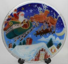 2001 Signed PEGGY KARR Hand Crafted FUSED GLASS Santa/Sleigh ROUND PLATTER