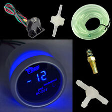 "HS2"" 52mm White Cover Car Universal Digital Blue LED PSI Turbo Boost Gauge Meter"