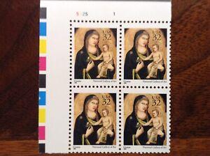 US  Scott # 3003 32c Christmas Madonna Plate Block of 4 MNH F/VF  1995
