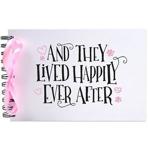 Ribbon, Lived Happily Ever After, Photo Album, Scrapbook, Blank White Pages, A5