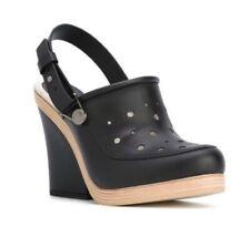 NWT, MaxMara Women's Orchestra Black Mules/ Shoes Leather Wood Wedges, Sz US 7