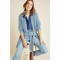 NWOT Anthropologie Women's Larkin Shimmer Blue Eyelash Cardigan Sweater Small