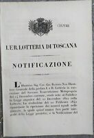 1847 FIRENZE NOTIFICAZIONE STATUTO SUL GIOCO DEL LOTTO NEL GRANDUCATO DI TOSCANA