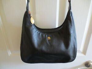 Vintage Black Leather ETIENNE AIGNER Handbag / Purse