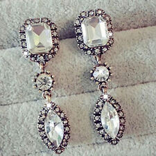 European Women Fashion Silver Plated Luxury Crystal Long Drop Earring Jewelry