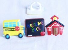12 Back To School Chalkboard Bus Cupcake Toppers Rings Party Favors