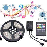5M RGB 5050 SMD LED Leiste Streifen Wasserdicht Musik Sound Sensor Fernbedienung