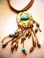 Outlet jewelry leather necklace with gold plated pendant turquoise beads collar