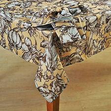 "Thanksgiving & Fall Harvest Tablecloth Vintage Toile Art Brown & Tan 60""x84"" OB"