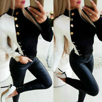 Ladies Turtleneck Buttons Long Sleeve Fit Tops Womens Casual Blouse T Slim Shirt