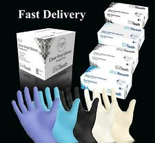Disposable Latex, Black Nitrile or Blue Vinyl Gloves Powder Free 100 Boxed