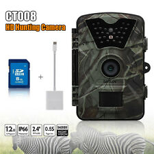 8G 12MP PIR Hunting Scouting Infrared Trail Game Camera W/ Lightning SD Reader