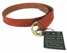 "Kangaroo Hide Plaited Belt 28"" Waist Women's Solid Brass Buckle Whiskey Brown"