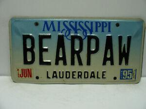 1995 Mississippi License Plate    BEARPAW   Lauderdale   Vanity    Vintage  9251