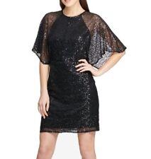 DKNY Womens Dress Black Size 8 Sheath Cape Sleeve Sequin Embellished $159 100