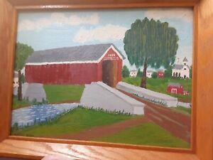 Folk Art Vintage Oil Painting Landscape Covered Bridge Signed Cheryl Winn Framed