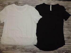 LOT OF 2 Lululemon Black Pima Cotton Scoop Neck Tee & White Silky Top Size 6