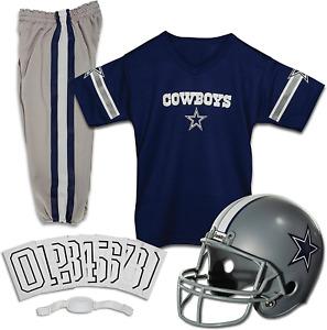 Kids Dallas Cowboys Uniform Set Youth NFL Football Jersey Helmet Costume Medium