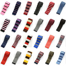 Men's Classic Knitted Crochet Tie Skinny Stripe Dots Necktie Wedding Neck Ties