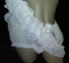 ADULT SISSY VINTAGE STYLE SHEER PANTIES ATTACHED SLIP SKIRT DRESS UP  W 32-52""