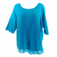 Soft Surroundings Tunic Blouse Top Blue Women M Petite Layered 3/4 Sleeve Cotton