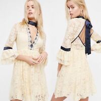 Free People Gilded Lace Mini Dress Size XS Small Large Almond Cream Fit Flare