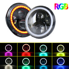 "LED 7"" Headlight W/ Bluetooth RGB HALO Turn Lights For 97-17 Jeep Wrangler JK"