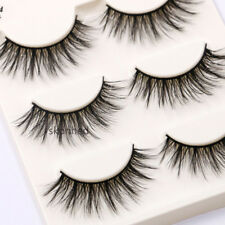 3 Pair 3D Natural Bushy Cross False Eyelashes Mink Hair Black Makeup Eye Lashes