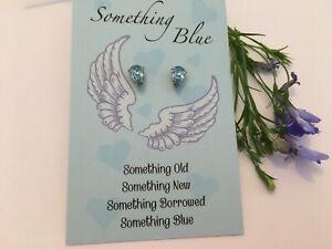 Something BLUE Braut Ohrringe Hochzeit Andenken durchbohrte Ohren pearshape