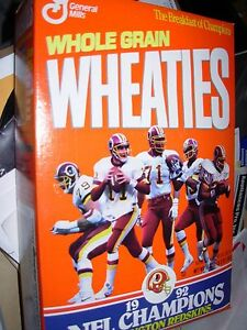 WASHINGTON REDSKINS 1992 NFL Champions Wheaties Box ( unopened )