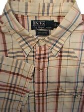 RALPH LAUREN POLO Shirt Mens 17 L Cream - MC Pastel Check POPPERS SHORT SLEEVE