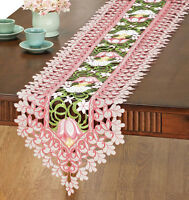 "Lacy Tulip Garden Table Runner Dresser Scarf Doily Embroidered Organza Pink 68""L"