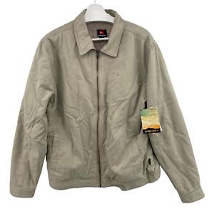 Quicksilver Mens Large Khaki Billy Full Zip Jacket Coat Sherpa Shearling Lining