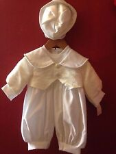 Boys White/Ivory Christening outfit with hat,  age 3-6 months BNWTS