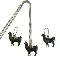 """Llama Silver 3 pc Necklace & Earring Set, 18"""" Gift Boxed Free Ship NEW"""