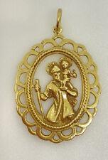 9ct Gold Saint Christopher Pendant Large Yellow Gold Ornate St. Chris Pendant