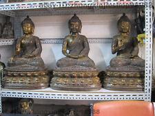 Tibet Buddhism Bronze Gild Three Sakyamuni Tathagata Amitabha Buddha Statue Set