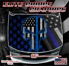 Police Punisher Skull Line Vinyl Hood Wrap Bonnet Decal Sticker Graphic