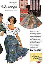 Quadriga Fabric Square Dance Prints ELY & WALKER Partner In Fun 1951 MAGAZINE AD